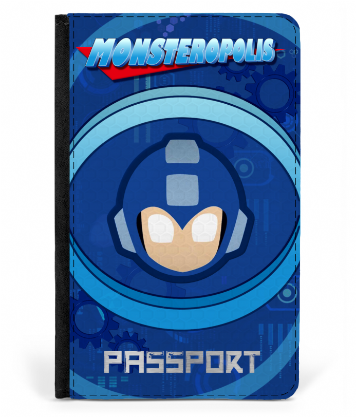 Monsteropolis Faux Leather Mega Man Retro Gaming Deisgn Passport Cover Protector